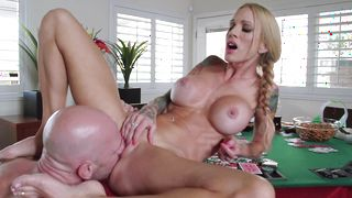 Engaging busty babe Sarah Jessie adores her ripped mate's penis penetration