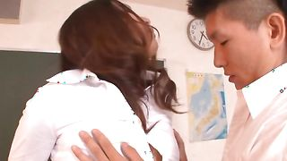 Exquisite Miwako Yamamoto with massive tits has her juicy twat plowed from behind