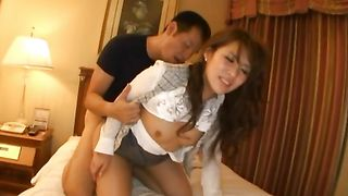 Beautiful cutie Rinka Aiuchi with great tits makes guy's boner hard before riding it