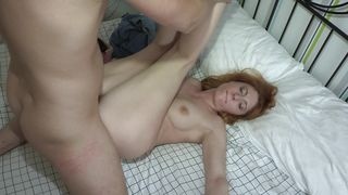 Voracious Renata with huge natural tits blows a fat stick like a pro