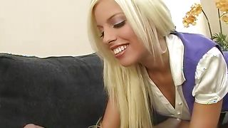 Lovely blonde Britney Amber with massive tits eagerly jumps on a firm lever