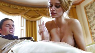Mouthwatering blonde honey Erica Fontes with large tits is banging her experienced boyfriend