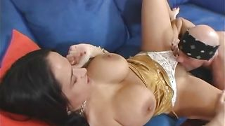 Passionate brunette Carmella Bing with huge natural tits and a buddy are about to have casual sex