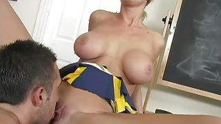 Awesome blonde Tanya James with massive tits gets eaten and fucked