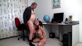 Delightful chick Zuzana with large natural tits eagerly kneels to take hard donga in her mouth