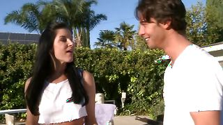 Pungent gf India Summer with great natural tits is moaning loudly while taking buddy