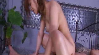 Wicked Kokomi Sakura with large tits really loves riding pal's rock solid love rocket