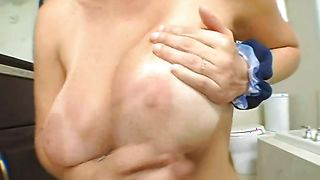 Playful Charlee Chase with round natural tits took bf's rod deep down her throat and sucked it very good