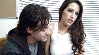 Lascivious brunette beauty Kortney Kane with round tits is in the mood to have steamy sex in the middle of the day
