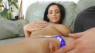 Fellow holds pretty busty brunette lady Natasha Nice tight while roughly penetrating her