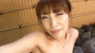 Lustful busty Kokomi Sakura with perfect body enjoys riding a strong packing monster