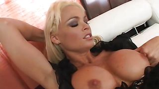 Vigorous busty blonde Rhylee Richards has her gash deeply penetrated