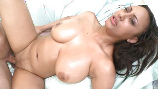 Voracious busty brunette sweetie London takes a rod ride
