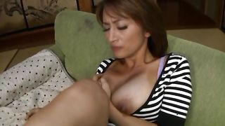 Tasty busty honey Nami Horikawa can't resist pussy tester dong and starts riding him