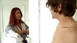 Amazing redhead Tiffany Mynx with large tits and hunk are doing it in the late afternoon