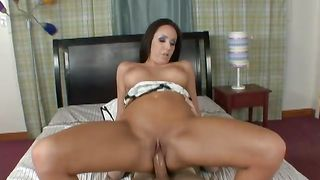 Lustful chick Raquelle DeRossi with curvy tits gets her skinny muff drilled hard
