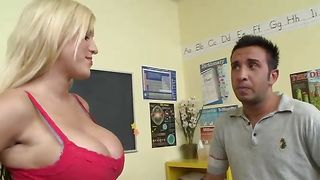 Sultry blonde babe Memphis Monroe with firm tits is about to swallow again