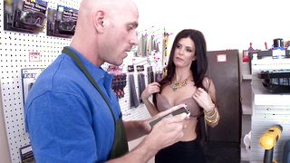 Dissolute India Summer with large natural tits stands in different positions giving deep blowjob