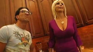 Playful busty blonde girlie Puma Swede likes to make love with pussy tester early in the morning