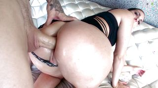 Shameless brunette chick Brittany Shae with huge natural tits is ready to jump on guy's pecker