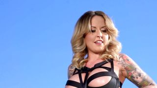 Sensual busty blonde Alexia Vosse with wet sissy enjoys riding a meat