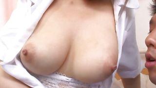 Stud licks lusty busty chick Eri Hosaka's snatch before stuffing it by his rod