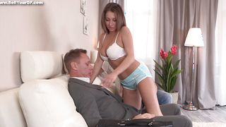 Filthy Leza Balezi with curvy natural tits is in dire need of buddy's dong