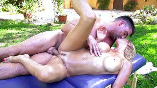 Ravishing busty darling Alexis Fawx is sucking a hard lovestick like a pro