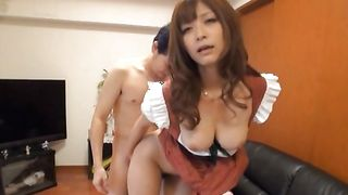 Addicted remarkable busty gal Haruki Sato goes mad about meat in her mouth