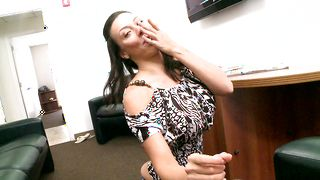 Marvelous busty girl Rachel Starr is always happy to ride a giant dink
