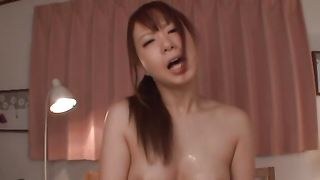 Ravishing Riri Ouka with round tits calms down after sucking a hard cock