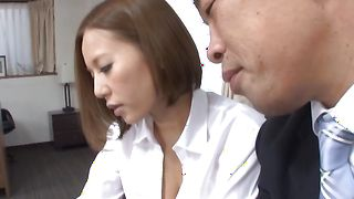 Stupendous cutie Ruri Saijoh with curvy tits impales her quim on hunk's dong