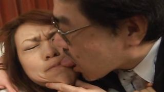 Slutty busty maiden Reiko Nakamori sits down and rides that hard pipe