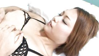 Astonishing busty diva Rino Makabe's vagina gets eaten and drilled