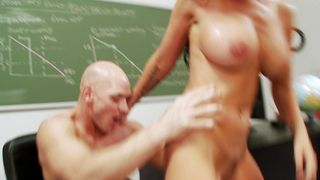 Dissolute brunette Brandy Aniston with great tits sits and rides a giant rod