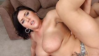 Astonishing brunette floosy Claire Dames with massive tits yearns for some hardcore action fucking
