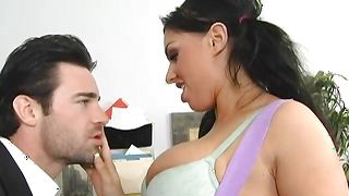 Charming busty Kerry Louise enjoys having her tasty cuchy pleasured