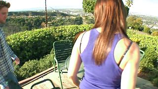 Insatiable brunette Dana De Armond with big natural tits gets her nana fully treated