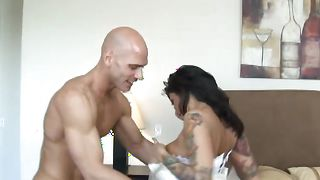 Shameless Ricki Raxxx with impressive tits is an expert in riding big hard cocks