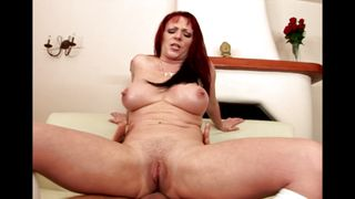 Tasty busty redhead cutie Kylie Ireland and fucker are playing a dirty games at home