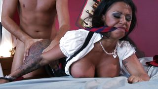 Swingeing Kerry Louise with huge tits strips to take a firm dick