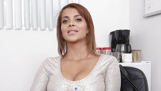Seductive latin bimbo Bianca with impressive tits seduces a guy