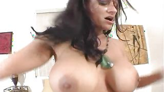 Pretty busty brunette gf Ava Lauren can not hold back from sucking a rock hard prick and getting fucked hard