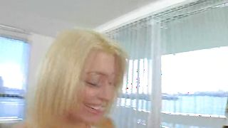 Staggering blonde Kami with big natural tits bends over and gets her sweet gash fucked