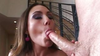 Naughty girlie Rucca Page with massive natural tits works fine pipe in her little tang