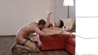 Seductive busty Kira Queen is getting her muff stuffed with a rock hard wang the way she likes