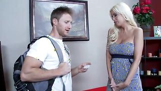 Classy busty blonde mom Jordan Blue with wet taco enjoys riding a prick