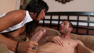 Cute beauty Lezley Zen with huge tits cums while riding male's big packing monster