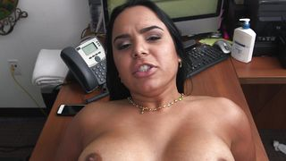 Attractive busty latin brunette girlie Sofia Char competes at who can take more phallus