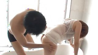 Astounding busty Rina Araki swallows a giant lever like a pro